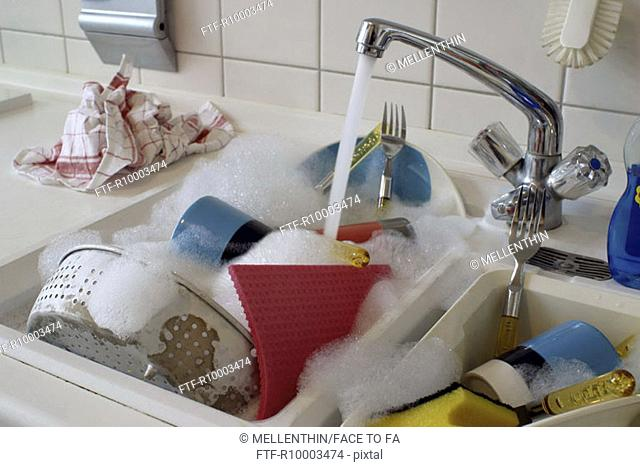 Dishes in a kitchen sink