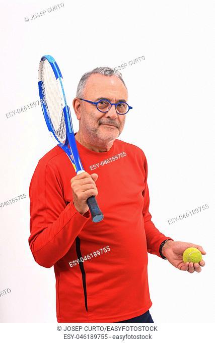 man playing tennis on white background