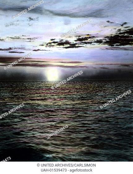 Norway, impression of the Midnight sun, image date: circa 1920. Carl Simon Archive