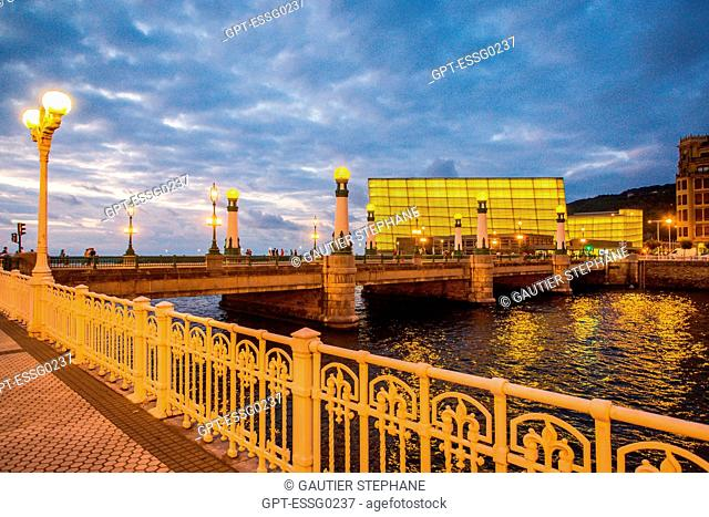 CONTEMPORARY ARCHITECTURE, THE KURSAAL CONVENTION CENTER, KURSALL CUBES, AND LA ZURRIOLA BRIDGE, SAN SEBASTIAN, DONOSTIA, BASQUE COUNTRY, SPAIN