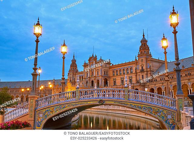 Seville Sevilla Plaza de Espana at sunset in Andalusia Spain square