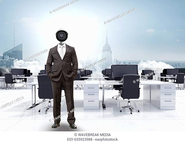 Businessman with CCTV head in office above city skyline