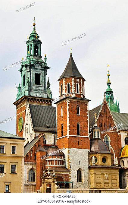 Old towers of Wawel Cathedral in Kracow, Poland