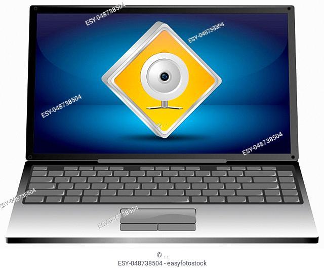 Laptop Computer with orange Webcam Button on blue desktop - 3D illustration