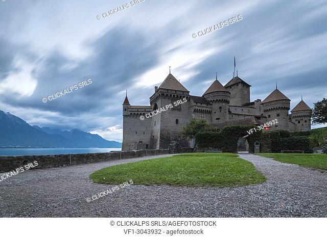 Chillon castle, Canton of Vaud, Switzerland, Swiss alps