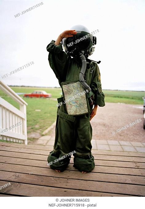 A child dressed in a pilot's outfit, Sweden