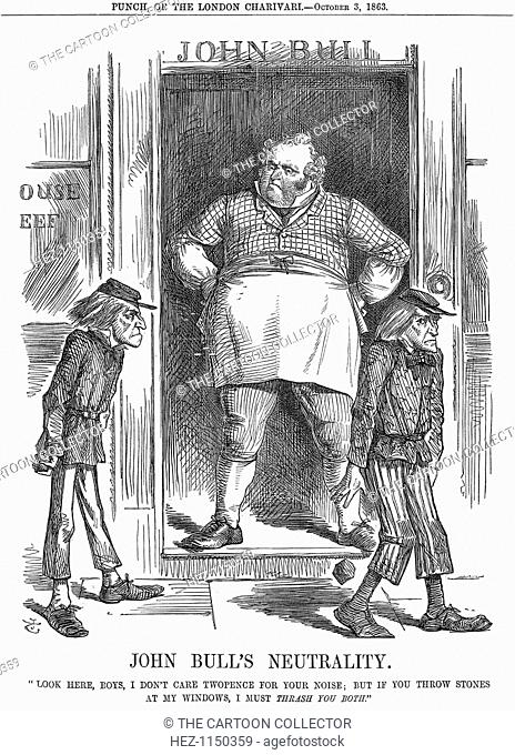 'John Bull's Neutrality', 1863. Look Here, Boys, I Don't Care Twopence For Your Noise, But If You Throw Stones At My Windows, I Must Thrash You Both