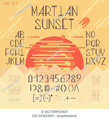 Vector thin line font, Latin alphabet, set with capital letters, numbers and symbols isolated on background with red planet and hills