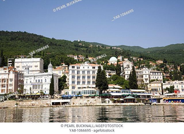 Opatija Istria Croatia Europe  Offshore panorama of waterfront buildings in fashionable seaside resort on Kvarner Gulf coast in Adriatic sea