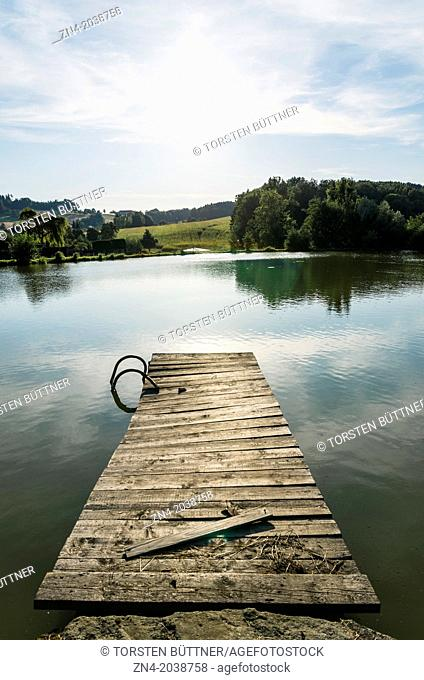 Dilapidated Floating Dock at an Abandoned Swimming Pond. Bad Schallerbach. Austria