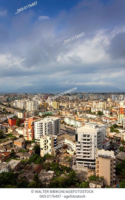 Albania, Vlora, elevated city view