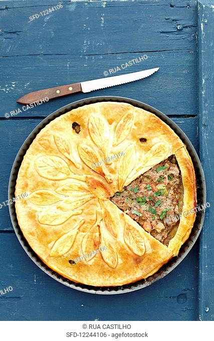 A pork and beef pie