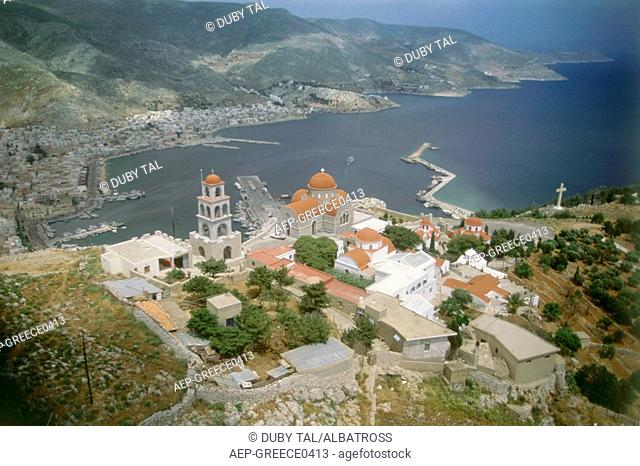 Aerial photograph of a Greek church on the island of Kalimnos
