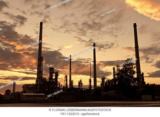 Sunset over an oil refinery in germany
