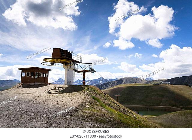 Booth on top of cableway in Alps mountains, Livigno, Italy