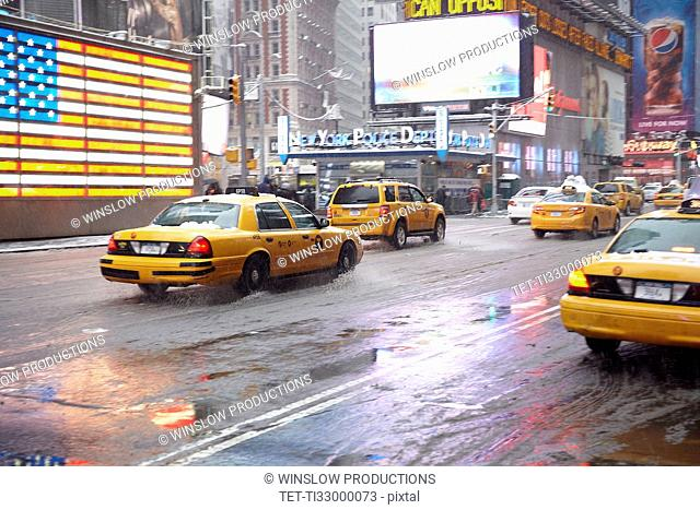 Yellow taxis on Time Square
