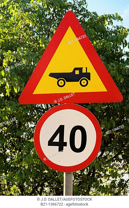 Traffic sign on a road in the Moremi Game Reserve, Botswana