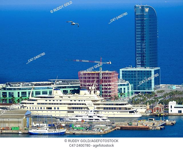 Hotel W, from Montjuic, Barcelona, Catalonia, Spain