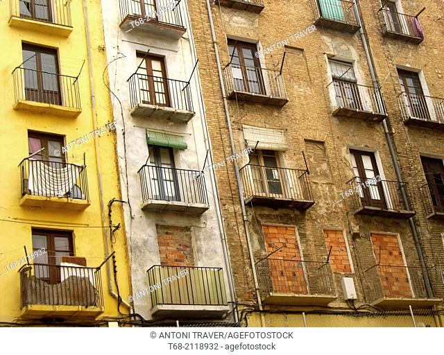 Dilapidated buildings in the old town of Lleida, Spain