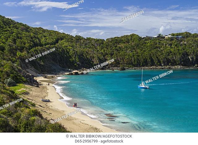 French West Indies, St-Barthelemy, Colombier, Anse de Colombier bay and beach