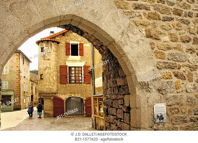 Pilgrimage way to Santiago de Compostela: walled village of Le Malzieu, Lozere, Languedoc-Roussillon, France