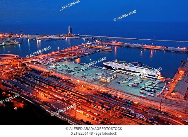 Port of Barcelona at sunset, Catalonia, Spain