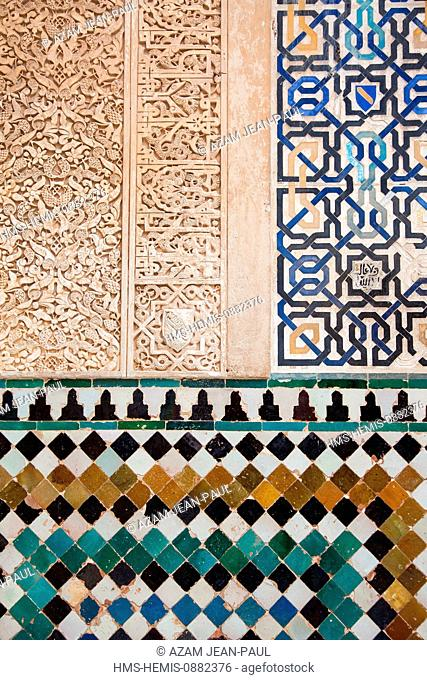 Spain, Andalousia, Granada, historical center listed as World Heritage by UNESCO, the Alhambra, architectural details in the Nasrid dynasty's palace