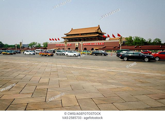Beijing, China - The view of Tiananmen tower and Chang'an street in the daytime