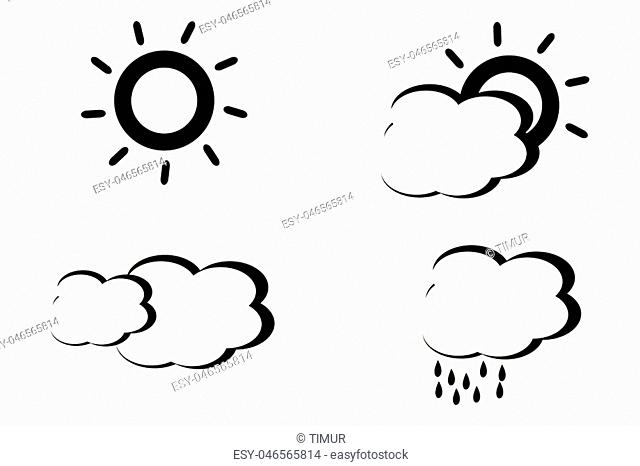 Four black and white abstract stylized weather icons on white background