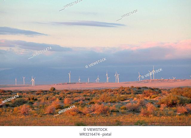 The gobi desert in xinjiang altay burqin county of wind power