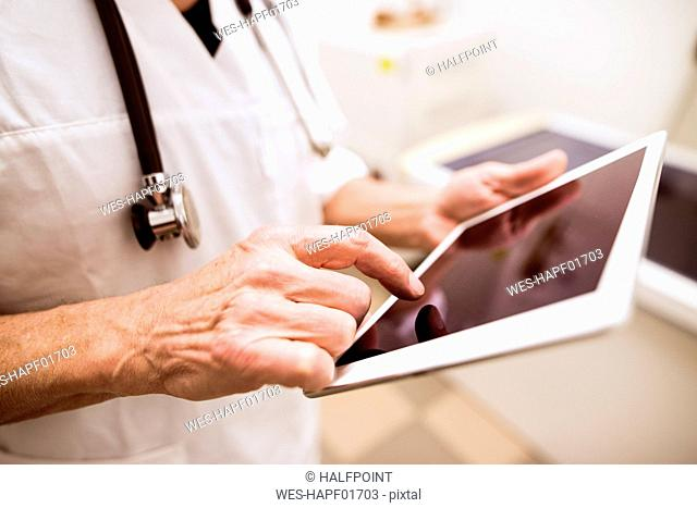 Close-up of vet using tablet in clinic