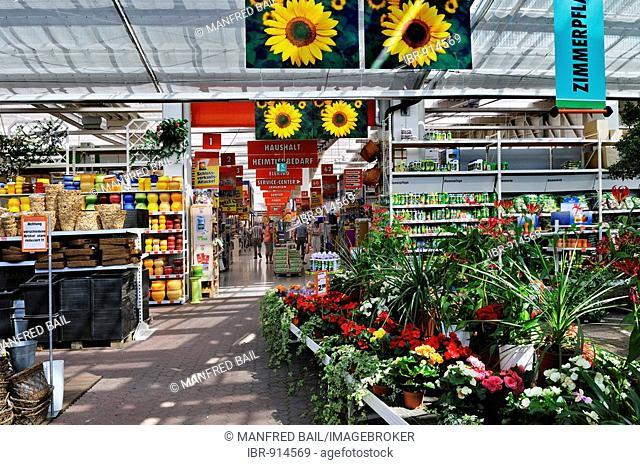 Flower department, modern market hall near Munich, Bavaria, Germany, Europe
