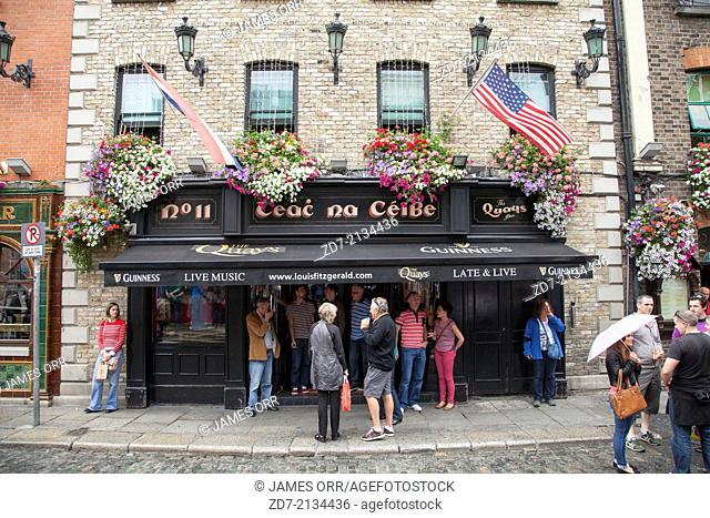 People outside The Quays Bar, Temple Bar, Dublin, Ireland