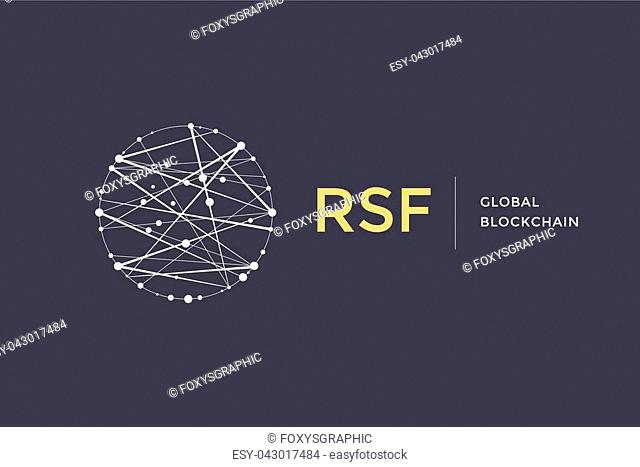 Logo for blockchain technology. Circle with connected lines for brand of smart contract block symbol. Graphic design for decentralized transactions and...