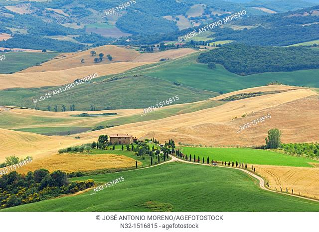 Pienza, Val d'Orcia, Orcia Valley, Fields and Farmhouse, Tuscany Landscape, UNESCO world heritage site, Siena Province, Tuscany, Italy, Europe