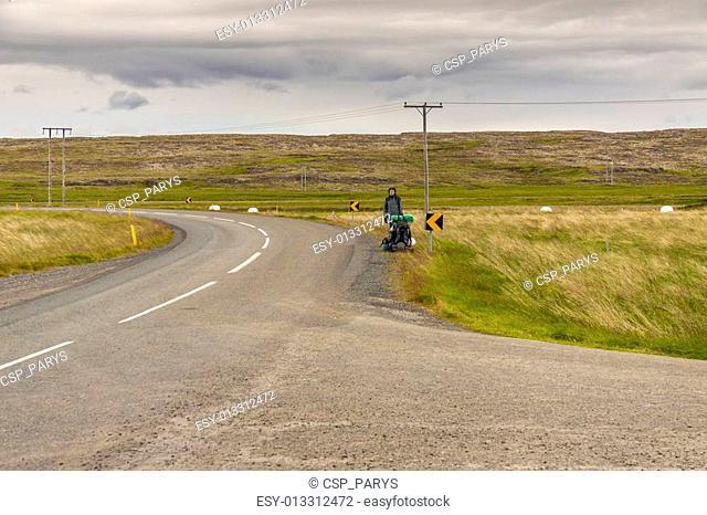 Women hitchhiking on Iceland