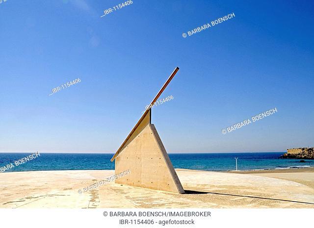 Sun dial, beach, sea, Tabarca, Isla de Tabarca, Alicante, Costa Blanca, Spain, Europe
