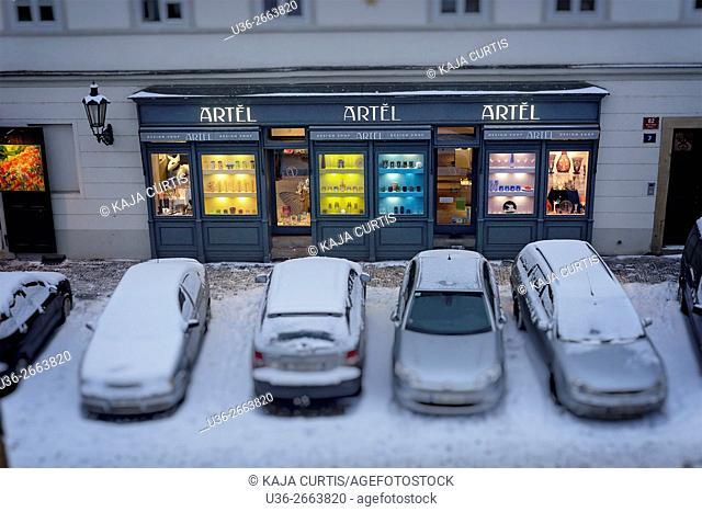 Storefront in winter, Prague, Czech Republic