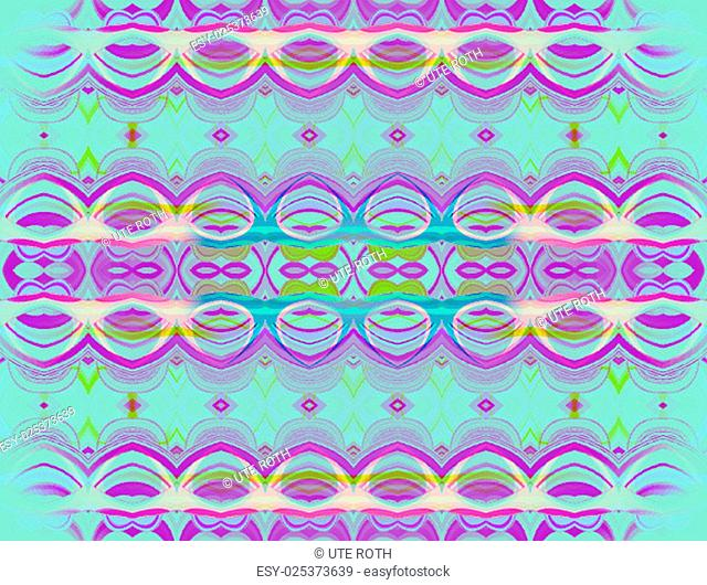 Abstract turquoise background, seamless purple ornaments centered