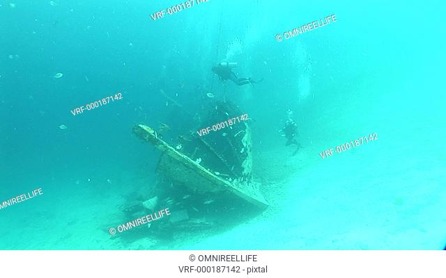 Underwater shipwreck with scuba divers and Sergeant major Fish