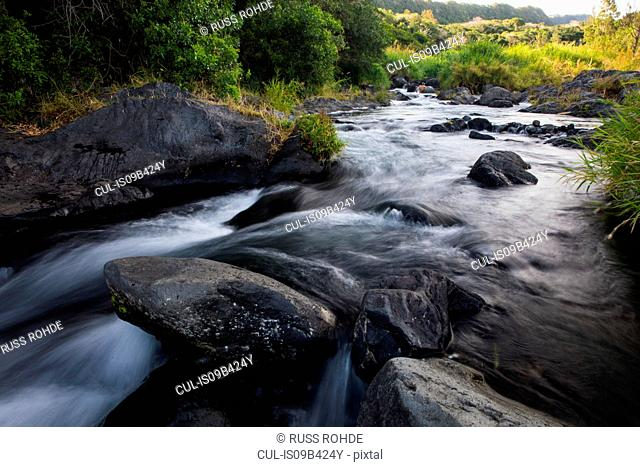 River flowing over rocks, Reunion Island