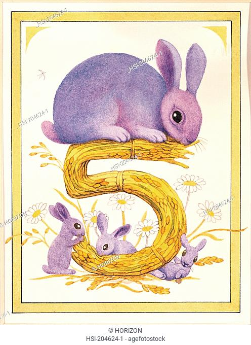 Artwork, Illustration, Birthday card, Animal, Rabbits, Age 5
