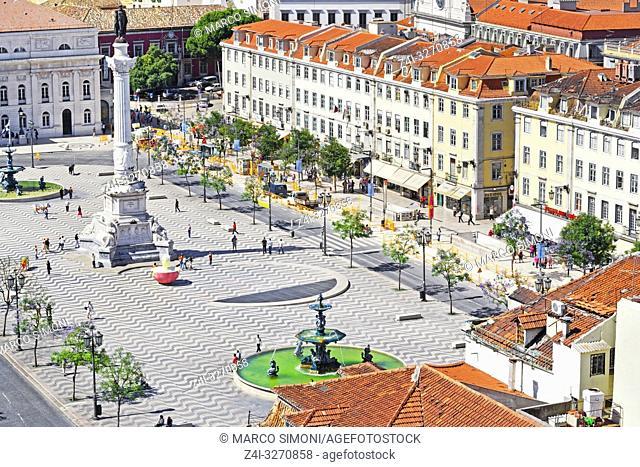 Rossio Square, Praca Dom Pedro IV, Lisbon, Portugal, Europe