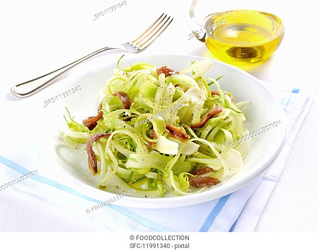Puntarelle con le acciughe (puntarelle with anchovies, Italy)