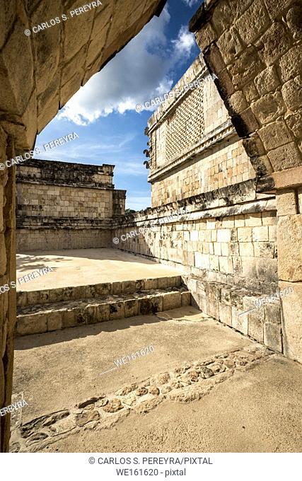 Maya ruin complex of Uxmal in Puuc route in Yucatan Mexico