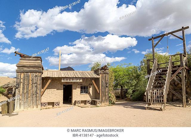 Wild West scenery, sheriff's office, gallows, Old Tucson Studios, Tucson, Arizona, USA