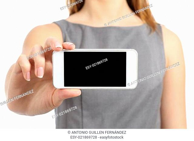 Business woman hand displaying a blank smart phone screen