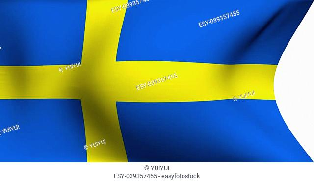 Flag of Sweden against white background. Close up