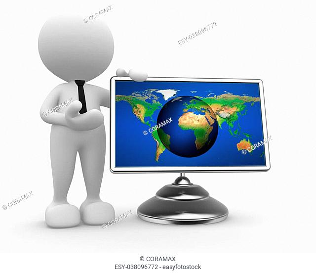 3d people - man, person with a earth globe - map on a monitor