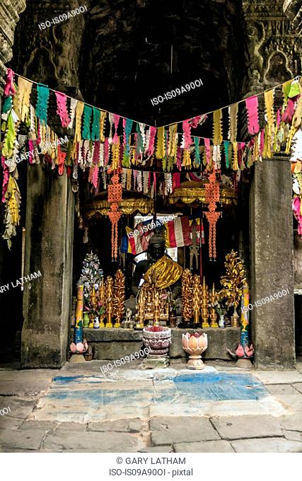 Buddhist shrine in temple in Angkor Wat, Siem Reap, Cambodia